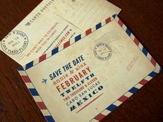 Carte Postal Save the Dates by Earmark Social, fun vintage, airmail style, perfect for any worldly couples!