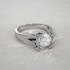 Double Prong Diamond Ring in 14k White Gold Catalog ID: RGNYD07017-W-14