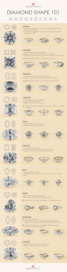 A shape for each type of engagement ring. Each diamond shape possesses its own unique qualities. James Allen offers the highest quality certified diamonds to satisfy all tastes.   Browse these diamond shapes in 360° HD on http://jamesallen.com. #Jamesallenrings