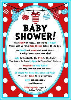 so cute! Dr. Seuss Baby Shower Invitation by InvitesBySandi on Etsy, $15.00 #babyshower #drseuss #GenettiManor