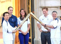 Prince William, Kate Middleton, and Prince Harry Greet the Olympic Torch at Buckingham Palace