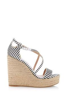 Jenny striped-silk espadrille wedge sandals by TABITHA SIMMONS Available Now on Moda Operandi