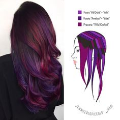 These 6 Hair Painting Diagrams Show You Exactly How to Get Color Like This - Hair - Hair Hair Color Purple, New Hair Colors, Cool Hair Color, Purple Tips, Hair Color How To, Amazing Hair Color, Brown Hair With Purple Highlights, Purple Ombre, Dark Red Purple Hair