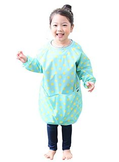 Plie Little Girls' Waterproof Art Smock With Sleeves Large Mint Dot ** Continue @