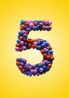 Creative Birthday, Helios, City, and Behance image ideas & inspiration on Designspiration Birthday Numbers, 5th Birthday, Balloons And More, Numerology Numbers, Love Balloon, Typography, Lettering, Birthday Images, Letters And Numbers