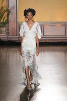 V-neck, low-high hemline wedding dress with light blue lace and flutter sleeves by Claire Pettibone, Bridal Gowns, Wedding Dresses, Whimsical Wedding, Blue Lace, Flutter Sleeve, Fall 2016, Hemline, Lace Skirt