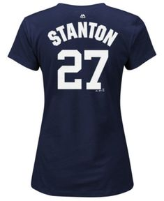 e979971d7 Majestic Women s Giancarlo Stanton New York Yankees Crew Player T-Shirt -  Blue XXL Yankees