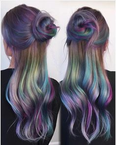 """8,446 Likes, 56 Comments - Hair Makeup Nails Beauty (@hotonbeauty) on Instagram: """"Beautiful Oil Slick Hair Color and Style by @hairbyelm Love your work Elise #hotonbeauty . . .…"""""""