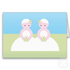 Two caucasian brides greeting cards