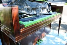 Furniture purists ... avert your eyes. This is a post about how I changed our perfectly fine piano from glossy mahogany to white. Did I ruin it? Maybe. But
