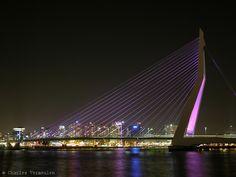 Ben van Berkel's Erasmusbrug / Erasmus Bridge by night. Because of Rotterdam 2007 City of Architecture the bridge is illuminated with purple light. Furthermore visible: the Boompjes / Maasboulevard and the river Nieuwe Maas / New Meuse.
