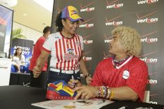 Queens, NY - El Pibe greets a Colombian Soccer superfan at Queens Center on May 10, 2014. http://vz.to/1kPUpVn