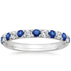 Sapphire and 18k white gold and Diamond stacking rings from