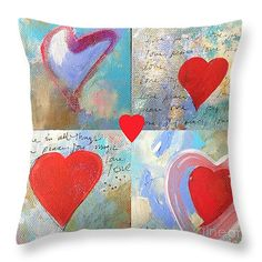 Heart Paintings Throw Pillow