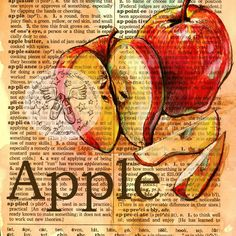PRINT: Apple Mixed Media Drawing on Distressed, Dictionary Page by Kristy Patterson at Flying Shoes Art Studio in Guymon, Oklahoma