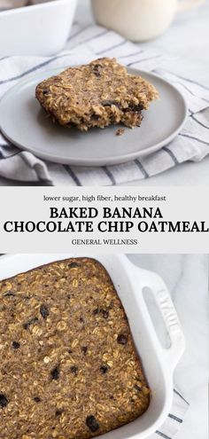 There are so many options for your leftover bananas, but this is my favorite alternative to banana bread! This Baked Banana Chocolate Chip Oatmeal is full of healthy fiber, low in sugar, and naturally gluten free for a delicious, cozy, and healthy breakfast each morning. Low Sugar Desserts, Homemade Desserts, Delicious Desserts, Baking Recipes, Snack Recipes, Dessert Recipes, Healthy Recipes, Breakfast Ideas, Breakfast Recipes
