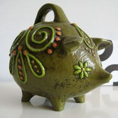 Vintage piggy bank by Fitz & Floyd I have one just like it in my collection. Paper Mache Animals, Piggy Banks, This Little Piggy, Money Box, My Collection, Cast Iron, Boxes, Antiques, Create