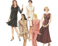 Tailored Skirt Suit Pattern Special Occasion Jacket Top Straight or Full Skirt Pattern 1990s Sewing Pattern McCalls 6796 Bust 32 34 36 UNCUT by TheOldLeaf on Etsy