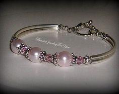 Dusty Pink Pearl Bridesmaid Bracelet with by FiveLittleGems