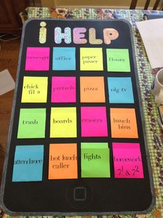 "Classroom jobs poster, the ""ihelp"". Good for middle school Classroom Helpers, Classroom Jobs, Classroom Organisation, Future Classroom, Classroom Activities, Classroom Management, Classroom Setup, Class Management, Behavior Management"