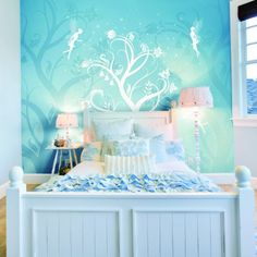 Twinkle Wallpaper Mural blue feature wall for girls fairy themed bedroom Kids Bedroom Wallpaper, Wall Wallpaper, Feature Wallpaper, Pink Bedroom For Girls, Pink Bedrooms, Teen Decor, Kids Decor, Home Decor, Blue Feature Wall
