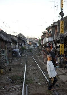 Shanty town along the railway in Surabaya, Java, Indonesia