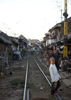 Shanty town along the railway in Surabaya, Java, Indonesia