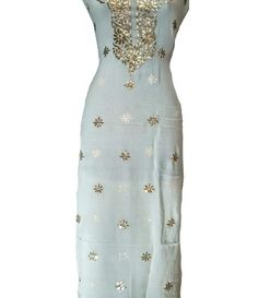 Off White Pure Georgette Dyeable Long Kurti With Mukaish Work