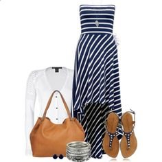 Casual Dress with a Cardigan by pinkroseten on Polyvore