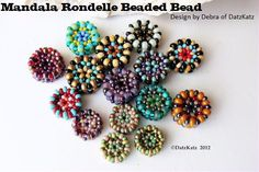 Tutorial - Mandala Rondelle beaded bead pattern seed beads round rondelle multi color bead design