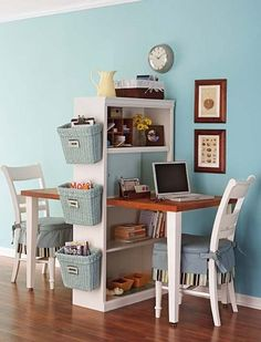take one table, cut in half, attach to bookcase ~ great for 2 kids to do homework without bugging each other. CUTE!