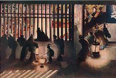 吉原格子先の図(幕末の浮世絵師・葛飾応為の画)