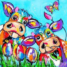 Buitenschilderij koeien - Vrolijk Schilderij