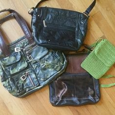 Tyler Rodan/Stone&Co/Sak (2) 1)Green Sak cross body  2)Leather brown Sak cross body 3)Tyler Rodan camouflage  4)Stone & Co black leather purse Sold in this add all together or can list separate The Sak Bags Crossbody Bags