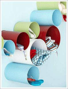 Recycling cans and using them as craft supplies storage!
