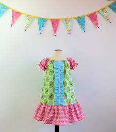 Girls boutique peasant dress in designer fabric by TheMulberriBush.