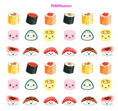 Sushi Stickers Kawaii stickers Planner Stickers for by PSDPlanner