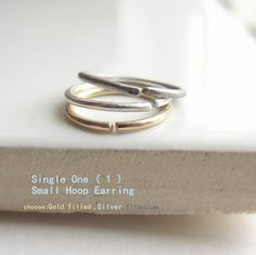 One(1) Small Hoop Earring, Titanium Earring, Silver Hoop Earring, Gold Hoop Earring, Piercing Jewelry