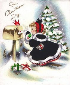Vintage Christmas Card Little lady mails a Christmas card. Vintage Christmas Images, Retro Christmas, Vintage Holiday, Christmas Pictures, Christmas Girls, Christmas Mail, Christmas Scenes, Winter Christmas, Christmas Crafts