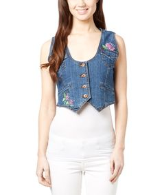Take a look at this Indigo Floral Embroidered Denim Vest today!