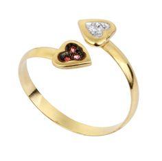Anel de ouro com diamante e rubi coração. Rosana Joias e Relógios cdf45da2a3