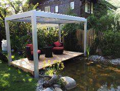 Egy minőségi pergola segítségével bármikor szemkápráztató, hangulatos oázis varázsolhatunk saját kertünkbe, udvarunkba. Legyél otthon te is a szabadban! Outdoor Spaces, Outdoor Living, Summer On You, Aluminum Pergola, Sliding Panels, Modular Design, Pergola Plans, Modern Buildings, Building Design