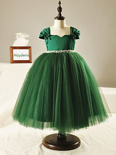 Ball Gown Tea-length Flower Girl Dress - Tulle Short Sleeve Square with Beading / Bow(s)