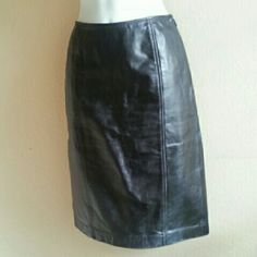 """FINAL PRICE! LOFT Leather Pencil Skirt Good condition! Can be worn with multiple different looks and styles! There are some scuff marks, as to be expected on gently used leather. Picture #4 shows the slightly noticeable marks. In my opinion, they won't be noticed when worn. Waistline: 26"""". This price is not firm. Feel free to make a reasonable offer! Or use Poshmark's new bundle option to bundle this item with at least two more items for 15% off entire order! Sorry loves, but no trades. LOFT…"""