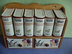 Cute spice rack Salt And Pepper, Spices, Jar, Stuffed Peppers, Spice Cabinets, Spice Racks, Vintage, Home Decor, Google
