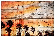 One Kings Lane - Imaginative Works of Art by Parvez Taj - Ocean Trails, Reclaimed Wood Palm Tree Sunset, Barn Wood Projects, White Barn, Pallet Art, Reclaimed Barn Wood, Modern Wall Art, Print Artist, Art Techniques, Painting On Wood