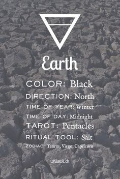 The earth element correspondences in magic, spells and witchcraft.