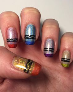 Crayon Nail Art for Back to School - - NAILS Magazine