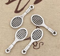 50pcs Bulk Tennis Racket Charms Antique Silver by paperandrock