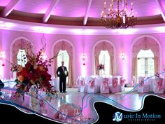 Architectural Uplighting at the Great River Golf Club in Orange, CT. Lighting by Music In Motion Entertainment of Seymour, CT.